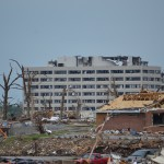 TORNADO DESTROYS HOSPITAL—The shell of what was once St. John's Hospital, Joplin, is shown two days after the May 22, 2011, tornado that ripped through the southwest Missouri community. A groundbreaking and blessing was held Jan. 29, 2012, on the new campus of Mercy Hospital Joplin. (Photo by Leslie Eidson, The Mirror)