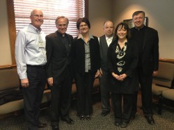 MISSION-BASED LEADERSHIP—Catholic Charities of Southern Missouri is participating in a mission-based leadership program developed by Catholic Charities USA and the University of Notre Dame. Pictured were CCSOMO board member Bill Hennessey; Fr. John Jenkins, CSC, president of Notre Dame University; Linda Decker, CCSOMO board member; CCSOMO Director of Accounting Greg Stark; Maura Taylor, CCSOMO executive director; and Fr. Larry Snyder, president of Catholic Charities USA.(Submitted photo)