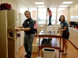 North Point Church cleaning and organizing kitchen