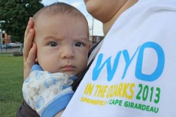 YOUNGEST ATTENDEE--Four-month-old John Francis Kelly was one of the youngest attendees at World Youth Day in the Ozarks in Springfield, held on the campus of St. Agnes Cathedral. (Photo by J.B. Kelly)