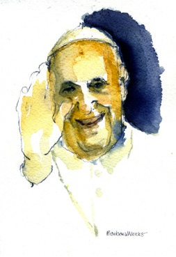 INTERVIEW OF POPE--Pope Francis' comments this past week on everything from gays to abortion (less talk, more mercy), the hierarchy (be pastors, not bureaucrats), and religious faith (doubt is part of belief) continue to reverberate through the church and the media. (RNS art by Barbara Weeks, Chicago, IL.)