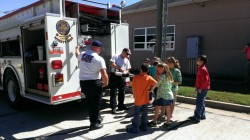 RESCUE TRUCK--The third grade class at St. Lawrence Catholic School, Monett, learned about the rescue truck from the Monett Fire Department on Oct. 10, during Fire Prevention Week, Oct. 7-11, 2013. (Submitted photo)