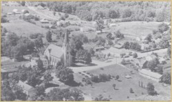 Aerial view of the church town of Leopold.