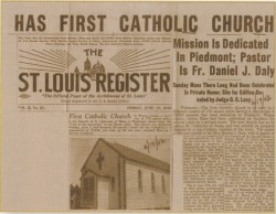 1942 Newspaper story about St. Catherine of Siena Church, Piedmont.