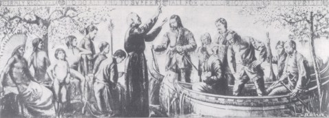 Fr. Marquette and Louis Joliet are pictured asking God's blessing and protection as they leave the shores of St. Ignace on their journey to discover the Mississippi River. (Used by permission, State Hiswrical Society of Missouri, Columbia)