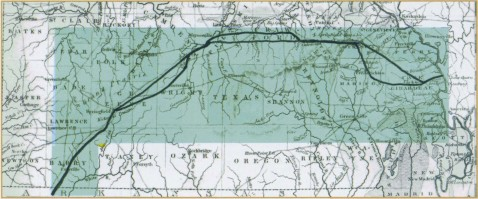 "The US Government relocation of the Cherokee Nation took place from 1838 to 1839. This highlighted map shows the segment of the ""Trail of Tears"" that came through southern Missouri (Used by permission, State Historical Society of Missouri, Columbia)"
