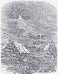 Line drawing of earthquake (Used by permission, State Historical Society of Missouri, Columbia)