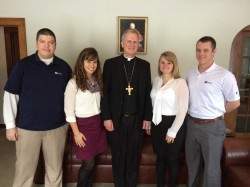 FOCUS MISSIONARIES--Bishop James V. Johnston, Jr., recently visited with the FOCUS missionary team working with Catholic Campus Ministry at Southeast Missouri State University, Cape Girardeau. Pictured with Bishop Johnston were Buster Adams, Maria Crippen, Vicky Allison, and team director Justin Manion. (Submitted photo)