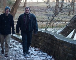STROLL BY BIG SPRING—Diocesan seminarian Nick Koeppel and Fr. J. Friedel, diocesan director of vocations/seminarians, took a walk by The Big Spring in Van Buren, MO, during the Winter Seminarian Gathering on Jan. 2-3. (Photo by Dan Williams)
