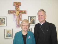 60TH ANNIVERSARY—Sr. Maureen Elfrink, OSF, a member of the Franciscan Sisters, Daughters of the Sacred Hearts of Jesus and Mary, headquartered in Wheaton, IL, will celebrate 60 years as a woman religious in 2014. She is pictured with Bishop James V. Johnston, Jr., on Feb. 2. Although officially retired, Sr. Elfrink volunteers her time in Cape Girardeau, including serving in Saint Francis Medical Center and the St. Mary Cathedral/Old St. Vincent Church Catholic Social Ministry Food Pantry.(Submitted photo)