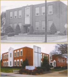 The former Springfield Catholic High School (above) was remodeled to provide office space for the bishop and diocesan staff members in what is now known as The Catholic Center (below)