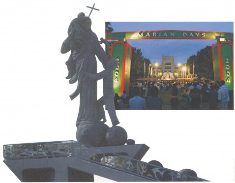 (Left) A monument called Mary, Queen of Peace was sculpted in 1983 and overlooks the grounds of the seminary. (Right) There were approximately 60,000 participants in the 2004 Marian Days celebration in Carthage, MO