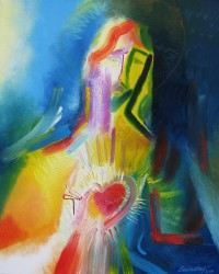 SACRED HEART OF JESUS—The Sacred Heart of Jesus is depicted in a modern painting by Stephen B. Whatley, an expressionist artist based in London. (CNS photo/Stephen B. Whatley)