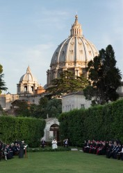 INVOCATION IN VATICAN GARDENS—Pope Francis, Israeli Pres. Shimon Peres and Palestinian Pres. Mahmoud Abbas attended an invocation for peace in the Vatican Gardens June 8. (CNS photo/Paul Haring)