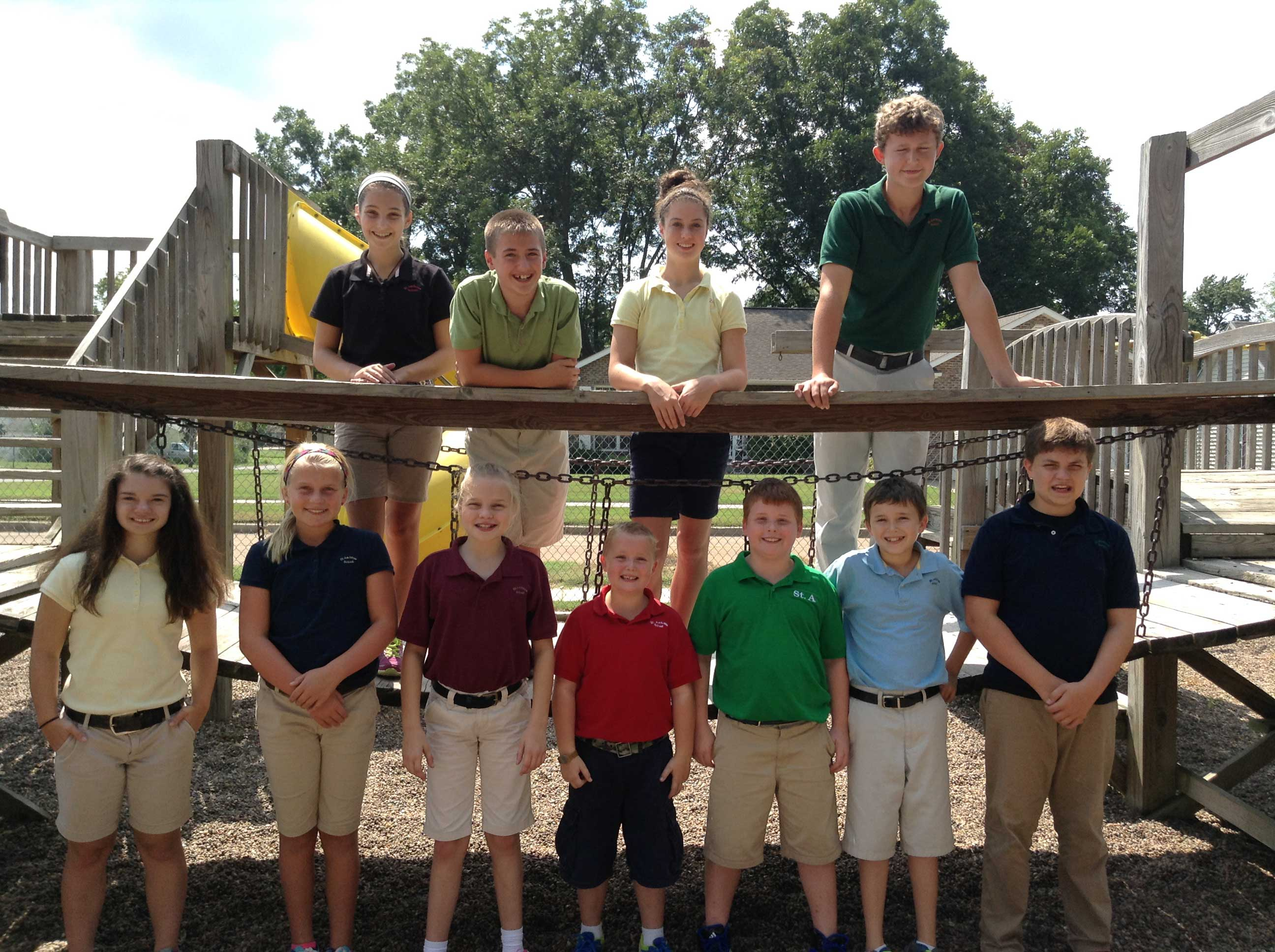 2014-15 STUDENT COUNCIL—​The following students were elected to represent their classmates as members of the St. Ambrose ​School ​student council ​in Chaffee, MO, ​for the school year 2014-2015. ​(Front row) Elleigh Seyer, Allie Burnett, Abby Glastetter, Luke Seyer, Ryder Chapman, Grant Lange, ​and ​Mason Cook​; (back row) Joanna Glueck, Austin Sullivan, Gracie Knutson, ​and ​Brock Lange​. ​The candidates wrote speeches and made posters, which they presented to the student body, in preparation for the election.​ St. Ambrose School, is home to 51 students, kindergarten through eighth grade, with principal Sr. Jacklyn Pritchard, CDP. (Submitted photo)