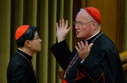 Cardinals Luis Antonio Tagle of Manila, Philippines, and Timothy M. Dolan of New York spoke before the morning session of the extraordinary Synod of Bishops on the family at the Vatican Oct. 13. (CNS/Paul Haring)