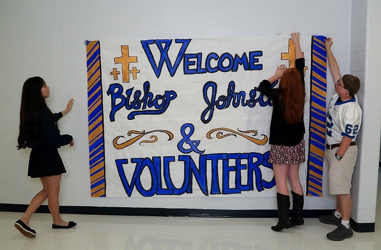 FOUNDER'S DAY WELCOME—Students of McAuley Catholic High School prepped the halls for Founder's Day events honoring the roots of Catholic education in Joplin, MO. Three days of festivities included a visit by Bp. James V. Johnston on Fri., Oct. 3, and an Assembly of Appreciation honoring volunteers. (Submitted photo)