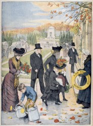 ALL SAINTS DAY—A family visits the cemetery on All Saints Day. The Church remembers our beloved departed in a special way in November.(Stock)
