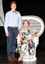 KING AND QUEEN—Senior candidates Blake Dunlap and Angelica Rubi were crowned King and Queen during the annual Activity Week held at Notre Dame Regional High School in Cape Girardeau. The fundraising extravaganza raised over $265,000 for the school budget, with the senior class raising the highest per capita amount of $864.09 per student. (Submitted photo)