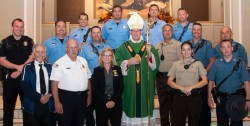 2017 BLUE MASS—Members of the Missouri State Highway Patrol, Cape Girardeau Police Department, Cape Girardeau Fire Department, Cape Girardeau County Sheriff's Office, Fruitland Fire Department, and retirees from federal agencies celebrated a Blue Mass with Bp. Edward M. Rice on Sept. 9 in St. Mary Cathedral, Cape Girardeau. A reception followed the liturgy. A photo gallery of this event may be found HERE. Photos by Dan Williams/The Mirror