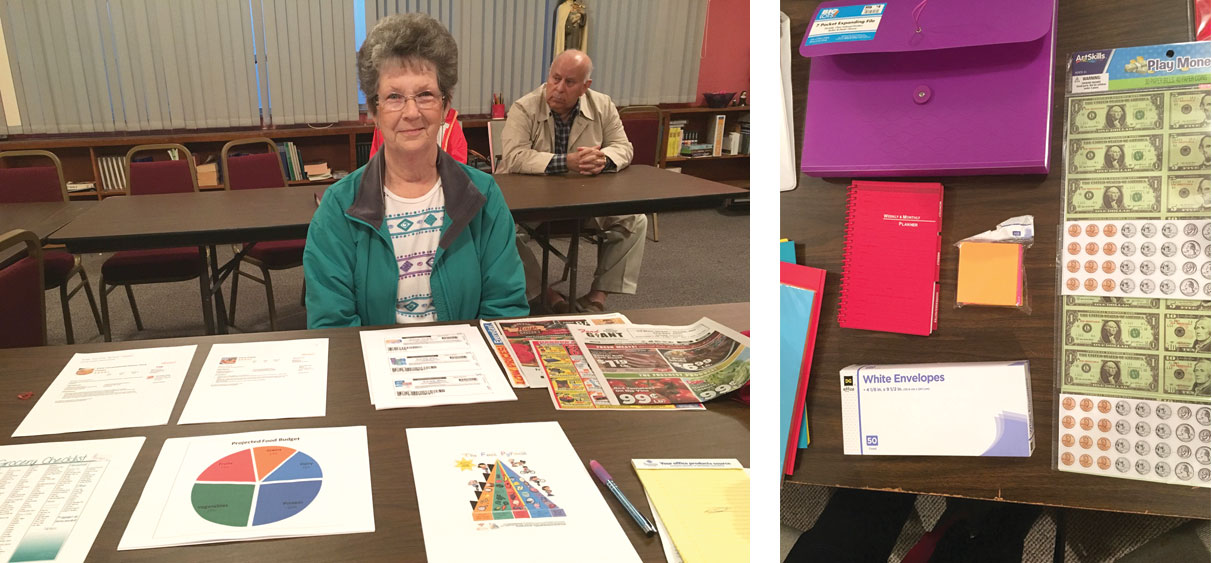 SHOPPING ON A BUDGET—Jane Medlin, who serves Sacred Heart Parish as administrative assistant, facilitated instruction on menu planning, cooking, and shopping on a budget.(The Mirror)