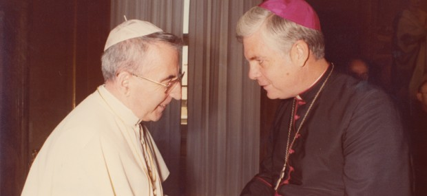 POPE JOHN PAUL I—Albino Luciani, Pope John Paul I, greeted then-Bp. Bernard Law at the Vatican in 1978. One of the shortest papacies in history, Pope John Paul I reigned only 33 days in the summer of 1978: Aug. 26-Sept. 28. (The Mirror)