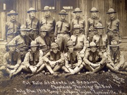 NEW CATHOLIC CHAPLAINS POSE FOR PHOTO IN 1918—A group of newly minted Catholic chaplains posed for a July 31, 1918, photo at Camp Zachary Taylor in Louisville, KY. The chaplains helped meet the spiritual needs of US military service members during World War I. (CNS photo/courtesy American Catholic History Research Center)