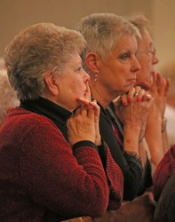 PRAYER—Women prayed at the DCCW Spring Assembly Mass at St. Elizabeth Ann Seton Parish in Springfield on April 21. A photo gallery of this event may be found HERE. (Photo by J.B. Kelly/The Mirror)