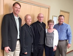 DDF PLANNING TEAM—The consultative group that assists Bishop Rice in planning the annual Diocesan Development Fund (DDF) campaign most recently included Jeff Unterreiner (2015-2016), St. Vincent de Paul Parish, Cape Girardeau; Fr. Michael Casteel (2015-2018), St. Denis Parish, Benton, and St. Lawrence Parish, New Hamburg; Bishop Edward Rice; Dawn Hennessy (2015-2017), St. Joseph the Worker Parish, Ozark; Jamie Burger (2015-2017), St. Denis Parish, Benton. Other members include Don Broyles (2016-2018), Holy Trinity Parish, Marshfield; Joe Garvey (2016-2018), Immaculate Conception Parish, Jackson; and Fr. Mark Binder, Holy Trinity Parish, Marshfield, and Sacred Heart Parish, Conway. (The Mirror)