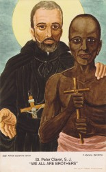 WE ARE ALL BROTHERS—This prayer card depicts St. Peter Claver, SJ, the missionary Spanish Jesuit priest often referred to as the Apostle to the Blacks and seafarers. Considered a patron of human rights, the US bishops have called for a Day of Prayer for Peace and Healing on his feast day, Sept. 9, 2016. (Public domain)