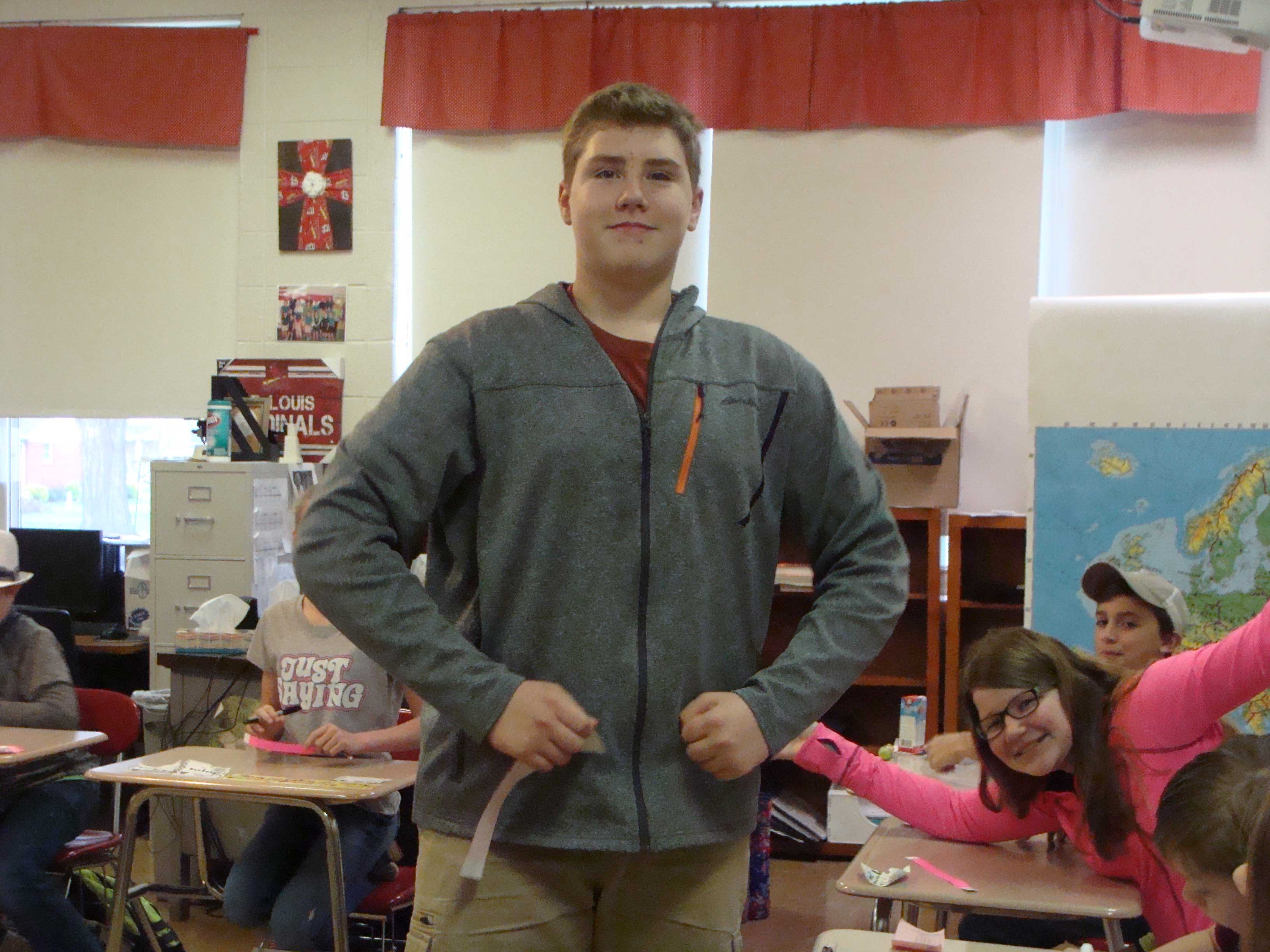 TEACHER OF THE DAY—John Crippen posed in Ann Whistler's classroom as the Teacher for the Day on March 29, 2017. (Submitted photo)