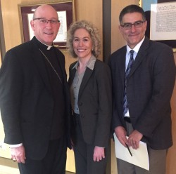 PRESIDENT & CEO—Bishop Edward M. Rice, Maryann Reese, new President and CEO of Saint Francis Healthcare System, and Nick Lund-Molfese, diocesan Director of Social Ministry, Family Life, Health Affairs, and Respect Life. (The Mirror)