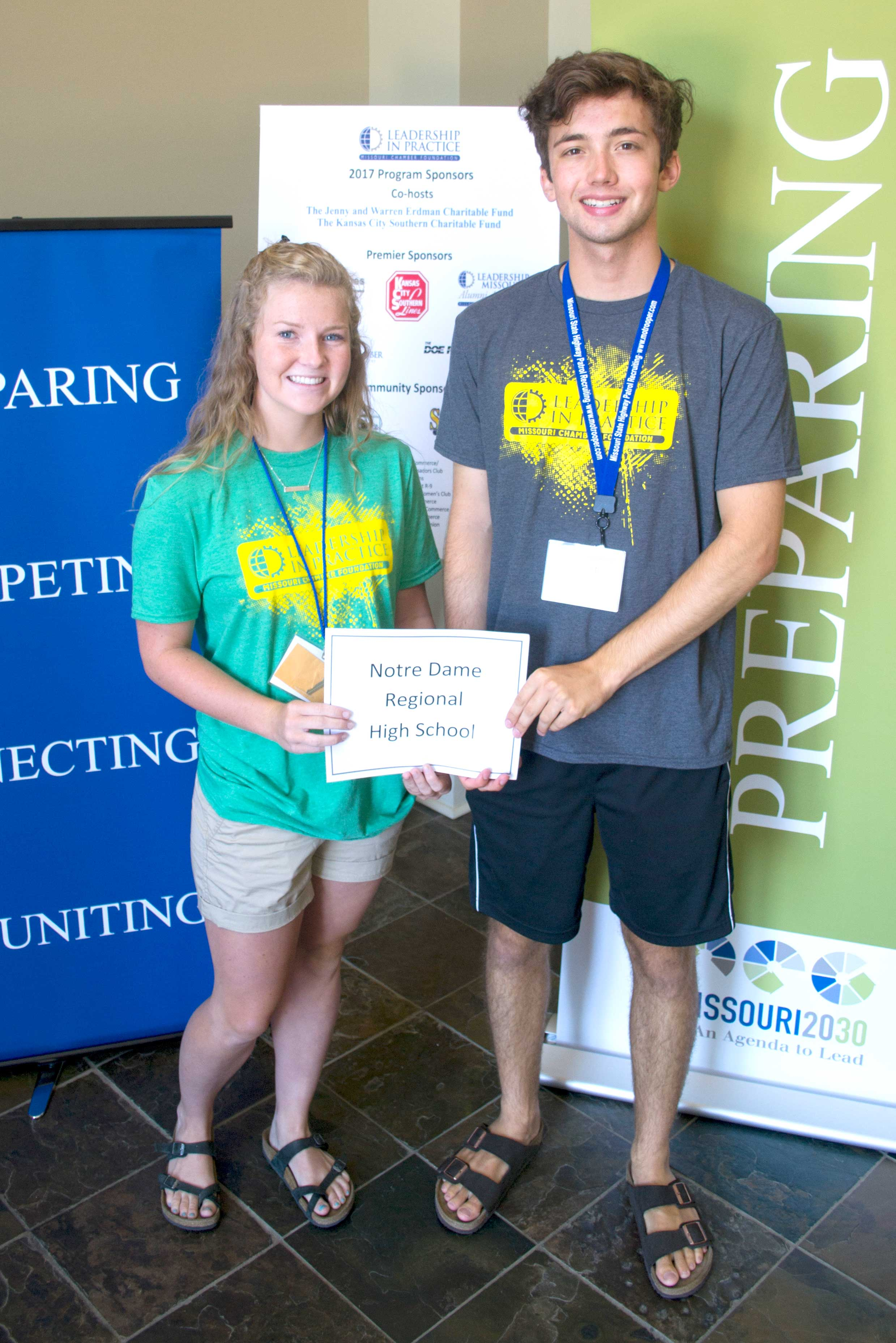 LEADERSHIP IN PRACTICE—Maggie Eby and Grant Wilson, incoming sophomores at Notre Dame Regional High School, Cape Girardeau, attended the Missouri Chamber of Commerce and Industry's Leadership Practice program June 25-28 in Fulton, MO. (Submitted photo)