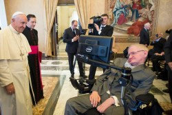 PONTIFICAL ACADEMY—Pope Francis met with Stephen Hawking, Nov. 28, 2016. (Photo by L'Osservatore Romano)