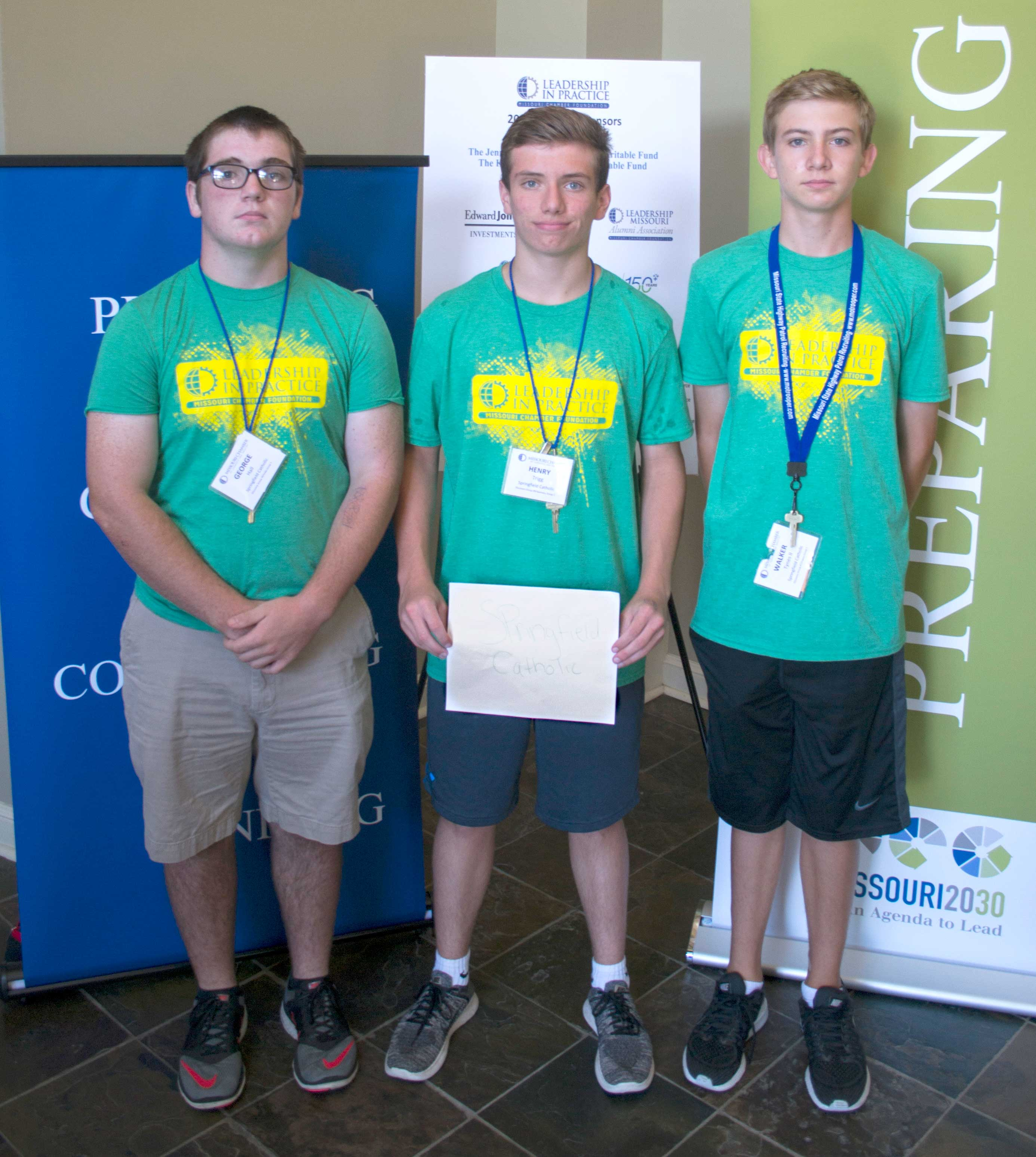 LEADERSHIP IN PRACTICE—George Hall, Henry Trigg, and Walker Tynes II, incoming sophomores at Springfield Catholic High School, attended the Missouri Chamber of Commerce and Industry's Leadership Practice program June 25-28 in Fulton, MO. (Submitted photo)