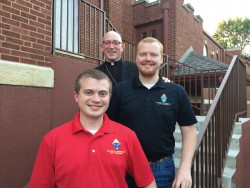 SPANISH IMMERSION—Bishop Edward M. Rice popped in to visit diocesan seminarians Nicholas Newton and Daniel Belken at Pittsburgh State University. The young men are participating in a Spanish immersion program this summer in Kansas. (The Mirror)