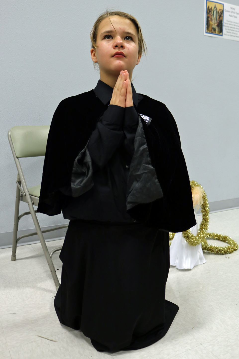 "ST. GEMMA GALGANI—Fifth grade parishioner Grace Mika portrayed St. Gemma Galgani at the ""March of the Saints"" Party at St. Joseph the Worker in Ozark on The Solemnity of All Saints held Nov. 1. (Photo by J.B. Kelly/The Mirror)"