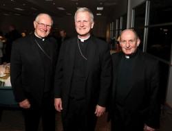 TRANSFER OF BISHOP—Bishop Emeritus John J. Leibrecht, Bishop James V. Johnston, Jr., and Msgr. Thomas Reidy, chancellor, are pictured. At the installation of The Most Rev. James V. Johnston as Bishop of Kansas City-St. Joseph on Nov., 4, 2015, the Diocese of Springfield-Cape Girardeau becomes a Vacant See. The last time this occurred was in 2008 when then-Pope Benedict VXI accepted the resignation of Bp. Leibrecht, as he was required to submit upon his 75th birthday. Msgr. Reidy, is senior in ordination of the diocesan College of Consultors and will convene the College for the election of the Diocesan Administrator who will head the diocese until Pope Francis names the next Bishop for the Church in Southern Missouri.