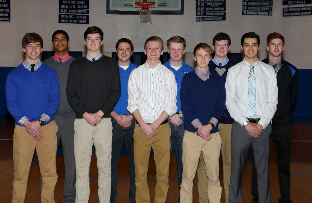 WARRIOR HOOPSTERS—The varsity basketball team for McAuley Catholic High School recently brought home the Ozark 7 Conference Title. Pictured are (front row) Dylan Londo, Tommy Doyle, Collin Lowry, Brendyn Taylor, Hunter Huthsing; (second row) Simeon Dohmen, Cameron Bertoncino, Adam Robertson, Jake Doyle, and Lathan Vlasin. (Submitted photo)