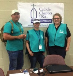 DISASTER RELIEF—CCSOMO staff, Shea Lane, Tammy Latimer, and Dee Maples, at West Plains MARC on May 9. (CCSOMO photo)