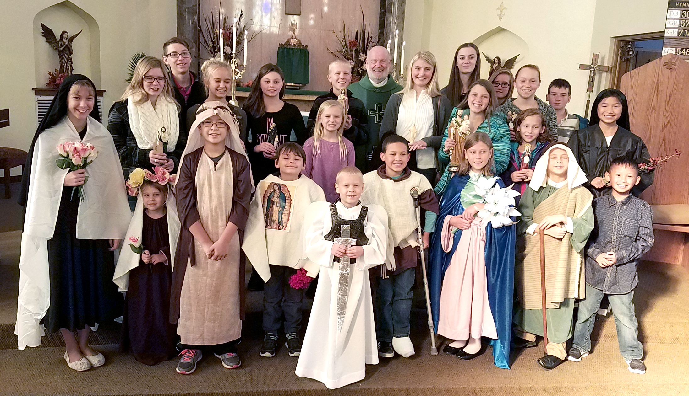 PARISH SCHOOL OF RELIGION— The PSR classes held Oct. 29 in St. Francis de Sales Church presented an All Saints Parade just in time for the Solemnity of All Saints. Saints included Our Lady of Guadalupe, St. George, St. Rose Lima, and St. Joseph, to name a few. Father David Miller serves as pastor of St. Francis de Sales in Lebanon. Sister Barbara Sledziewska, CSFN, serves the parish as its Director of Religious Education. (Submitted photos)