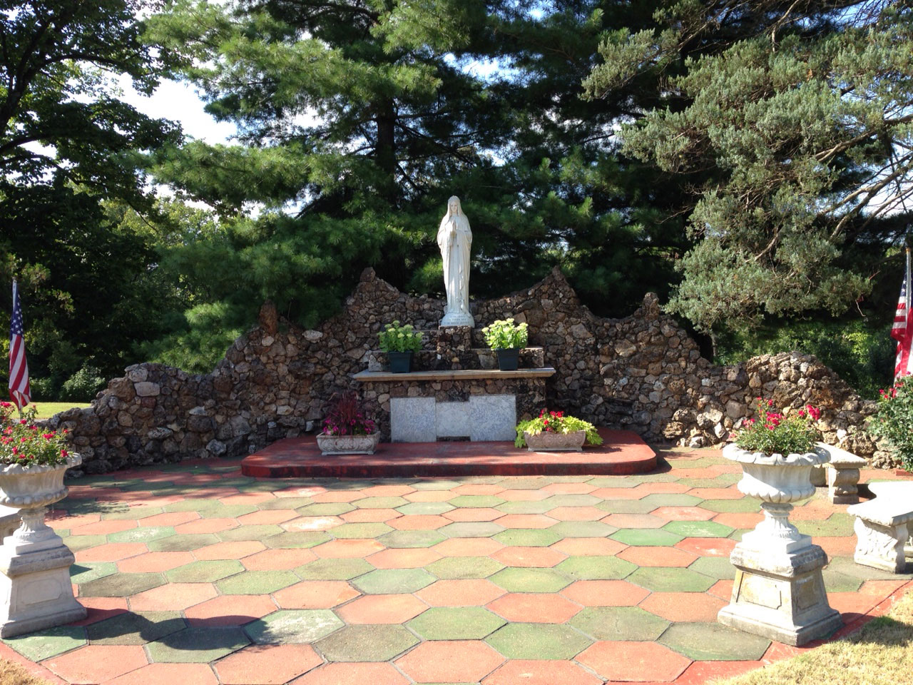 GROTTO—Mary Grotto on the facing side of St. John, Leopold, Aug. 13, 2015. (Photo by Glenn Eckl)