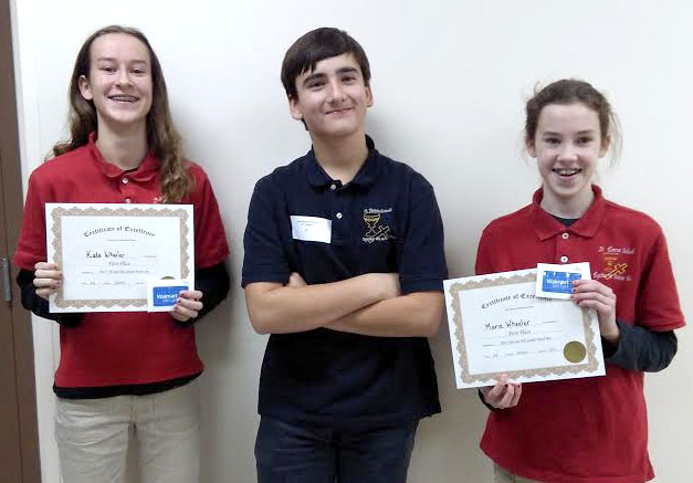 COUNTY CONTEST—Several fifth and eighth-graders from St. Teresa Catholic School, Glennonville, participated in the Dunklin County Math & Spelling Contest recently held at Malden School. St. Teresa School is proud to boast two First place winners: Kate Wheeler won the Blue Ribbon in the seventh and eighth grade Math contest and Marie Wheeler placed First in the fifth and sixth grade Math contest. Both received certificates and $100 gift cards for Walmart. Also pictured in Luke Weidenbenner (center) who was a participant.