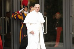 VATICAN—Pope Francis walked out of the Paul VI Hall during the Synod on the Family, Oct. 9, 2015. He recently instituted a new Vatican department dedicated to the family, the laity, and life. (Photo by Daniel Ibanez/CNA)