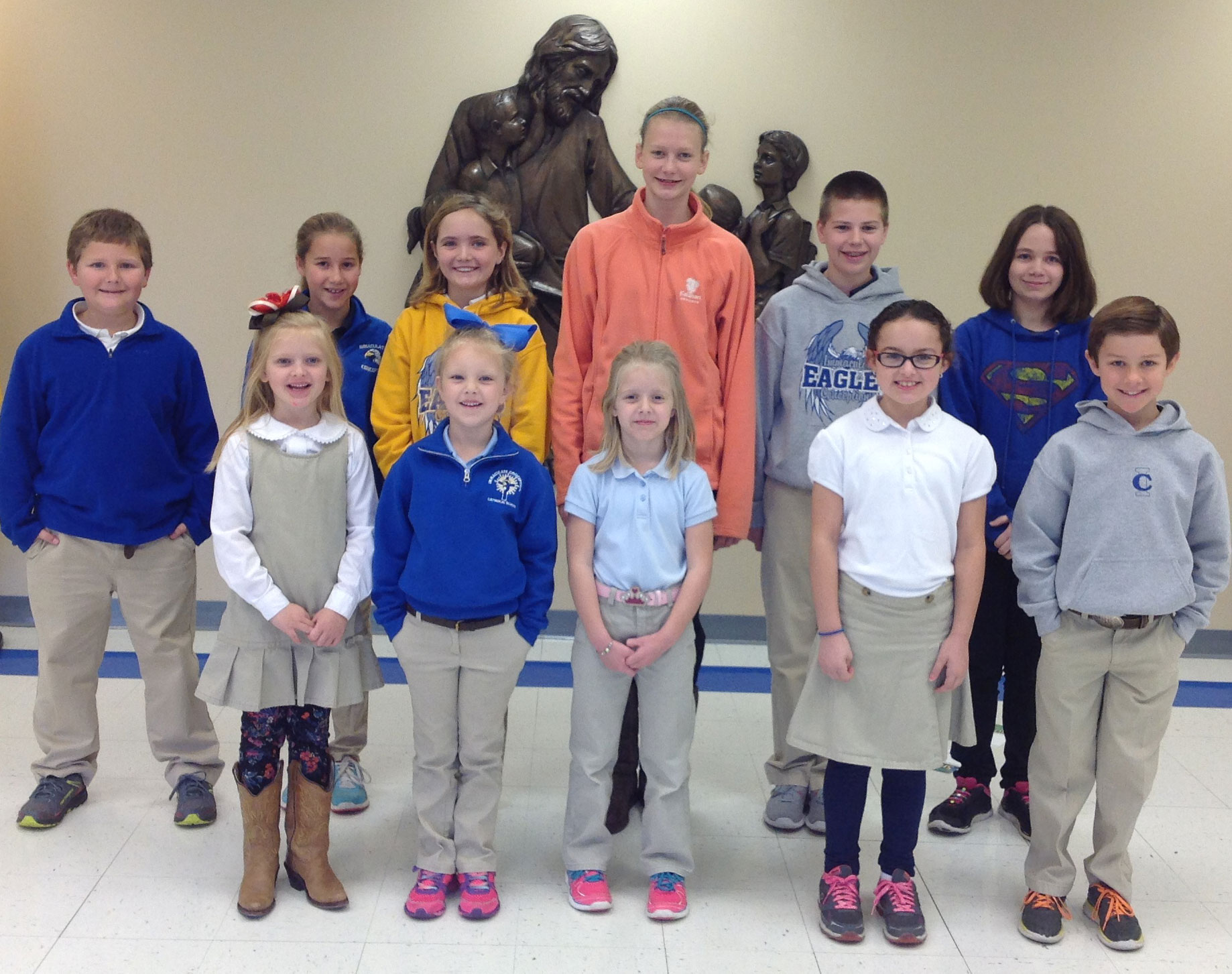 OCTOBER STUDENTS OF THE MONTH­—October Students of the Month at Immaculate Conception School in Jackson are: (front row l to r) Kinley Duenne, Carleigh Glastetter, Emily Huff, Macy Bommarito, Jackson Jones, (back row) Sam Criddle, Natalie Essner, Eve Jones, Emma Higgins, Robbie Criddle, and Elizabeth Raines. Students who display good Christian conduct, attitude, and classroom effort may be nominated by their teachers for this acknowledgement. (Submitted photo)