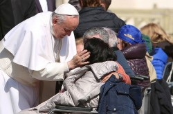 MERCY—A consistent gesture of General audience with Pope Francis is showing the love and mercy of Christ. (Photo by Daniel Ibanez/CNA)