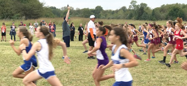 READY, SET, GO—Bishop Edward M. Rice blessed the teams and opened the races during the Cross Country meets held at Springfield Catholic High School on Oct. 3, 2017. (The Mirror)