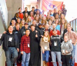 SEMO CCM ATTENDS FOCUS CONFERENCE—Approximately 60 people from Catholic Campus Ministry (CCM) on the campus of Southeast Missouri State University (SEMO) in Cape Girardeau attended SEEK 2017 Jan. 3-7 in San Antonio, TX, including Chaplain Fr. Patrick Nwokoye; Meg Garner, CCM Campus Minister; Deacon Tom Schumer, Director; and CCM's team of four FOCUS Missionaries.(Submitted photo)