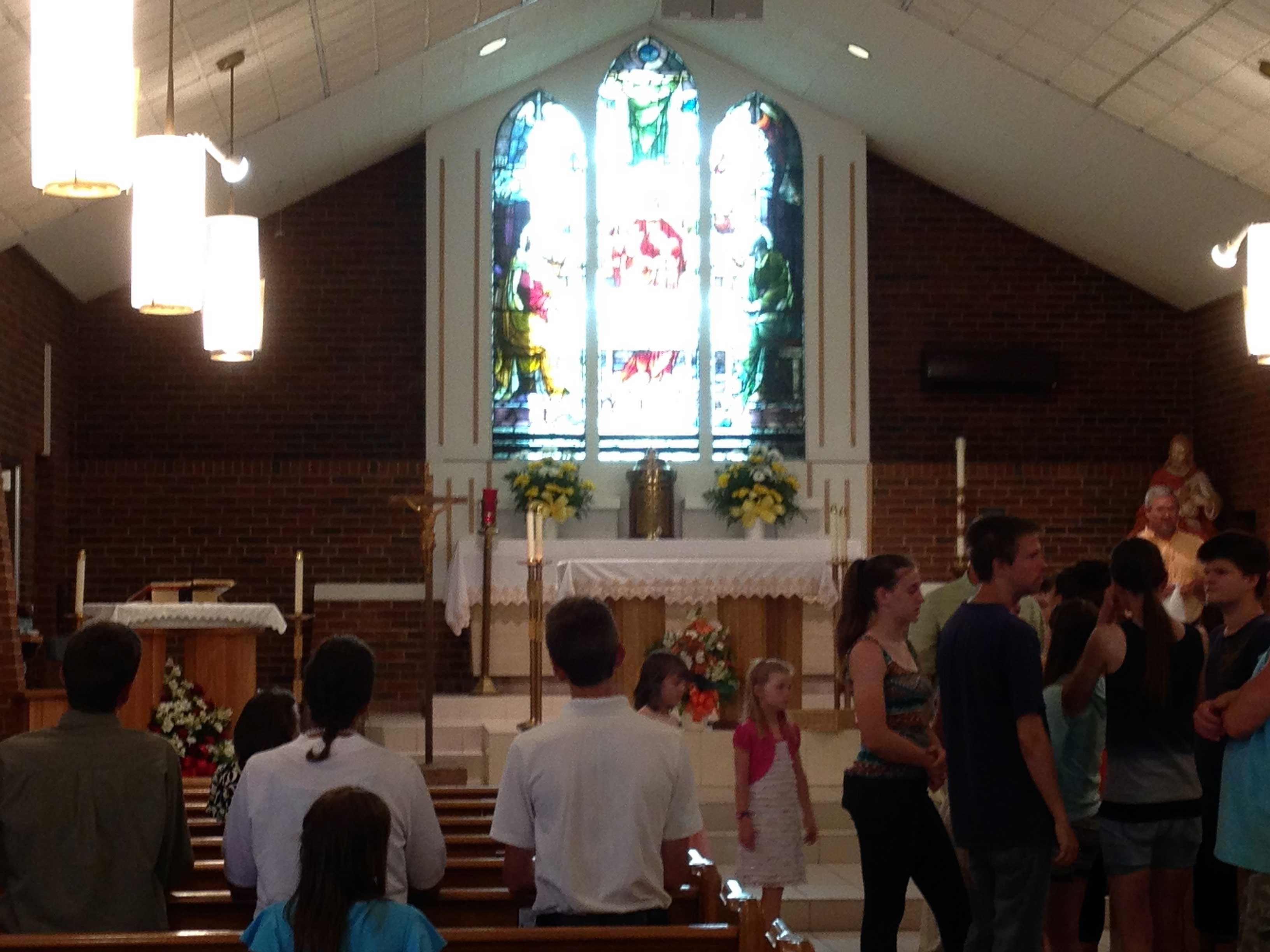 CLOSE-UP—View of the altar area in Scared Heart, Salem, after Mass, June 11, 2016. (Photo by Glenn Eckl)