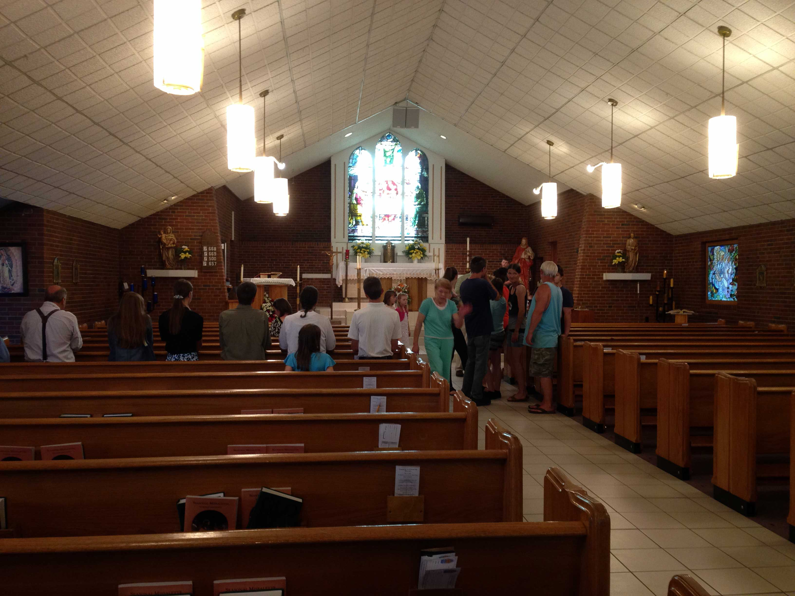 INTERIOR—A view inside Scared Heart, Salem, after Mass, June 11, 2016. (Photo by Glenn Eckl)
